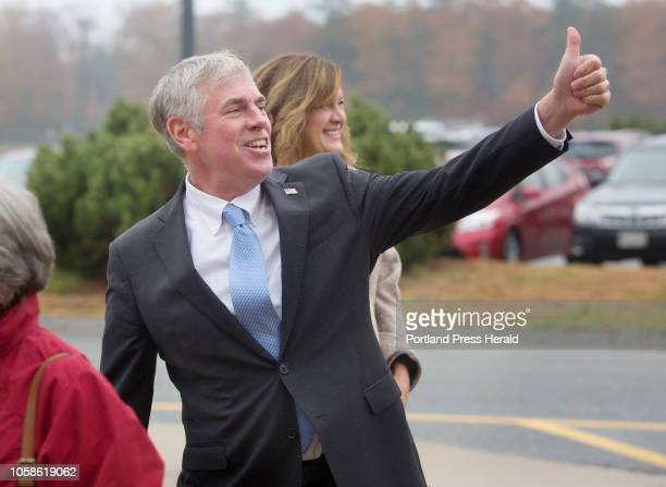 Gubernatorial candidate Shawn Moody and his wife Chrissi Moody arrive to vote at Gorham Middle School on Tuesday Nov 6 2018