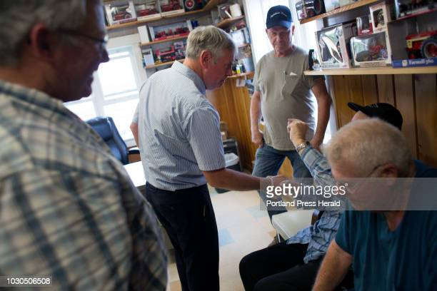 Gubernatorial candidate Shawn Moody greets business owners and farmers during a campaign stop at Ingraham Equipment in Knox on August 3 2018