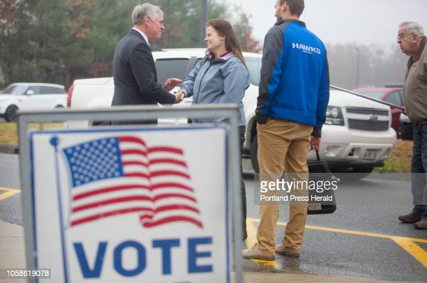 Gubernatorial candidate Shawn Moody greets Pam Eastman of Hiram after voting at Gorham Middle School on Tuesday Nov 6 2018