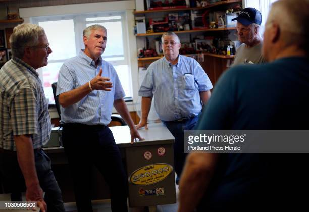 Gubernatorial candidate Shawn Moody visits with business owners and farmers during a campaign stop at Ingraham Equipment in Knox on August 3 2018