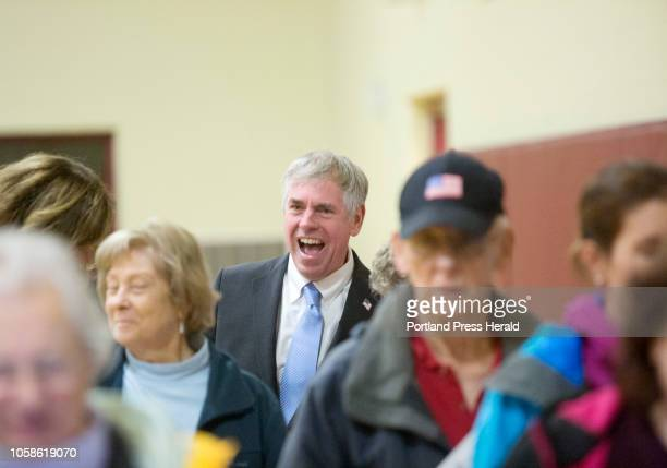 Gubernatorial candidate Shawn Moody waits to cast his ballot at Gorham Middle School on Tuesday Nov 6 2018