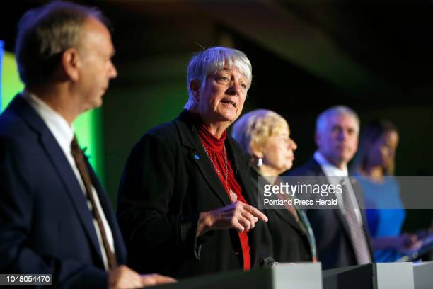 Gubernatorial candidate Terry Hayes shares the stage with Maine's three other gubernatorial candidates during a debate on Wednesday at the Portland...