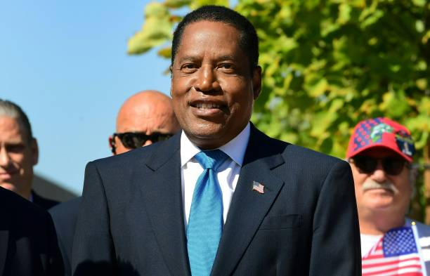 Gubernatorial recall candidate Larry Elder speaks at an event in Monterey Park, California on September 13 on the last day before voters go to the...
