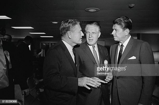 Gubernatorial Trio Aboard the SS Independence at Sea Republican governors left to right Nelson A Rockefeller of New York George Romney of Michigan...