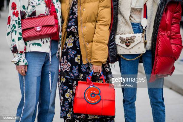 Gucci bag Chanel bag Tory Burch bag outside Tory Burch on February 14 2017 in New York City