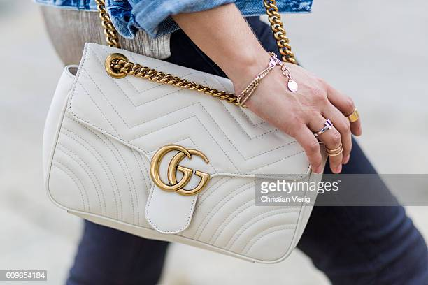 Gucci bag is seen outside Gucci during Milan Fashion Week Spring/Summer 2017 on September 21 2016 in Milan Italy