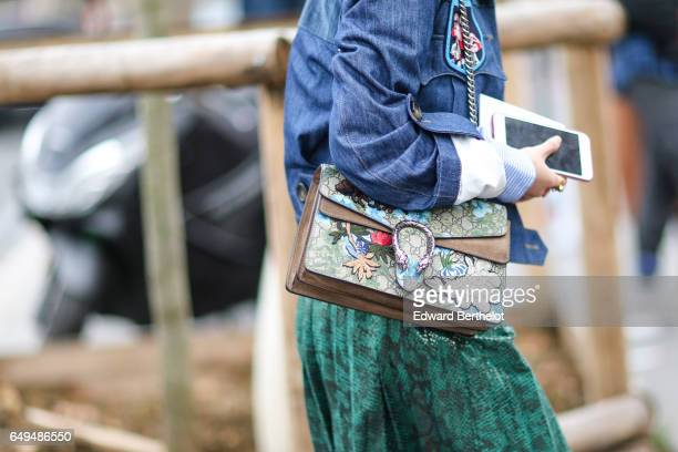 Gucci bag is seen outside the Ellery show during Paris Fashion Week Womenswear Fall/Winter 2017/2018 on March 7 2017 in Paris France