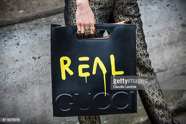 Gucci bag outside the Christian Dior show on day 4 of Paris Womens Fashion Week Spring/Summer 2017Êon September 30 2016 in Paris France