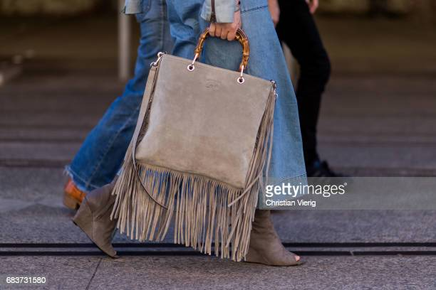 Gucci bag with fringes at day 3 during MercedesBenz Fashion Week Resort 18 Collections at Carriageworks on May 16 2017 in Sydney Australia