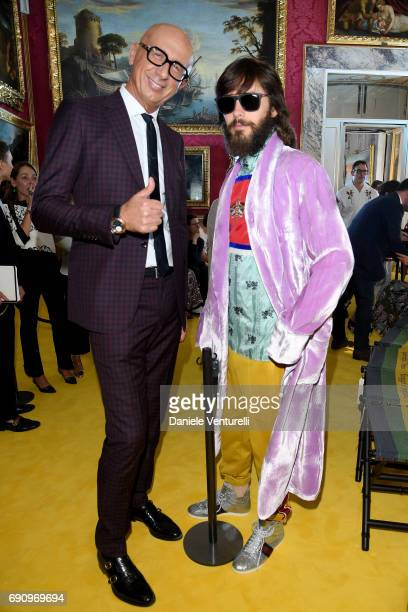 Gucci CEO Marco Bizzarri and Jared Leto attend the Gucci Cruise 2018 fashion show at Palazzo Pitti on May 29 2017 in Florence Italy
