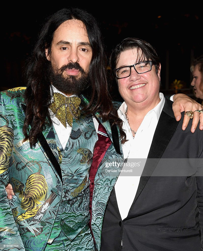 Gucci Creative Director Alessandro Michele (L) and photographer Catherine Opie attend the 2016 LACMA Art + Film Gala Honoring Robert Irwin and Kathryn Bigelow Presented By Gucci at LACMA on October 29, 2016 in Los Angeles, California.