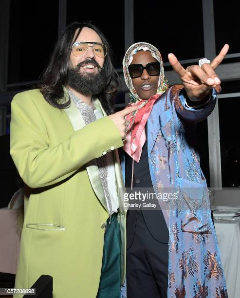 Gucci Creative Director Alessandro Michele and recording artist ASAP Rocky wearing Gucci attend 2018 LACMA Art Film Gala honoring Catherine Opie and...