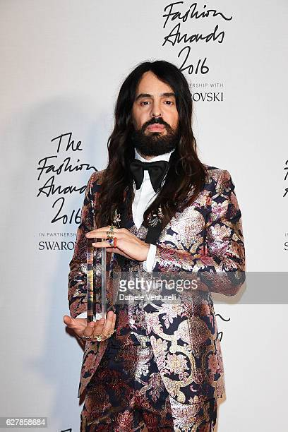 Gucci Creative Director Alessandro Michele in the Winners Room with his award for best International Accessories Designer at the British Fashion...