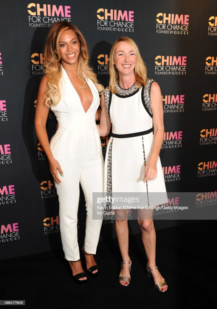 Gucci Creative Director Frida Giannini (R) and Beyonce attend the CHIME FOR CHANGE One-Year Anniversary Event hosted by Gucci Creative Director Frida Giannini and T Magazine Editor-In-Chief Deborah Needleman at Gucci Fifth Avenue on June 3, 2014 in New York City.