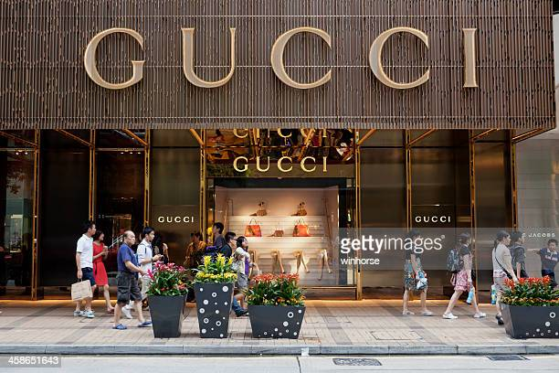 gucci flagship store - brand name stock pictures, royalty-free photos & images