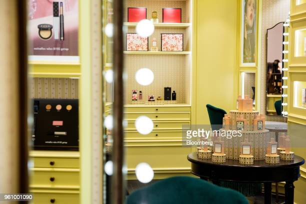 Gucci Group NV perfume bottles sit on display at the new beauty floor of a Saks Fifth Avenue Inc department store in New York US on Friday May 18...
