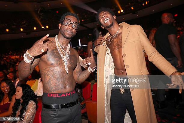 Gucci Mane and Desiigner attend the BET Hip Hop Awards 2016 at Cobb Energy Performing Arts Center on September 17 2016 in Atlanta Georgia