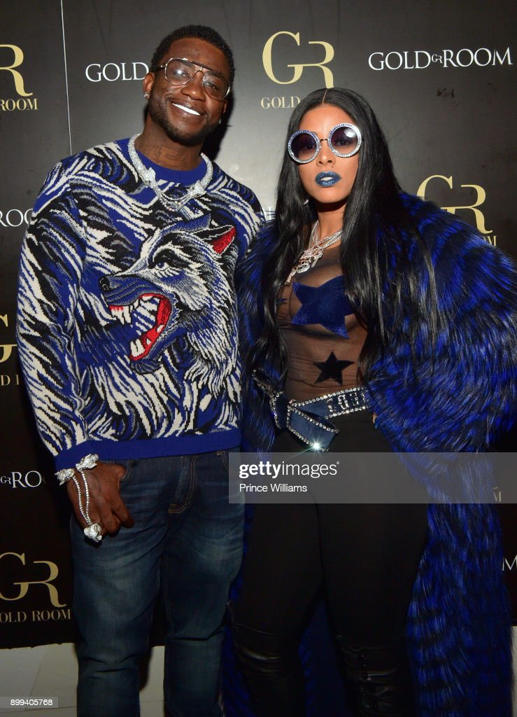 Gucci Mane and Keyshia Ka'oir attend the Gucci Mane 'El Gato The Human Glacier' album release party at Gold Room on December 22, 2017 in Atlanta, Georgia.