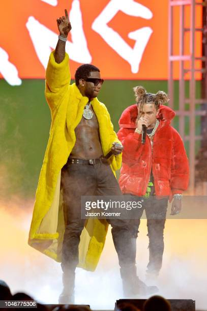 Gucci Mane and Lil Pump onstage during the BET Hip Hop Awards 2018 at Fillmore Miami Beach on October 6 2018 in Miami Beach Florida