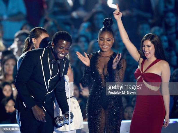 Gucci Mane and music group Fifth Harmony's Normani Kordei and Lauren Jauregui accept the Best Pop Video award for 'Down' onstage during the 2017 MTV...