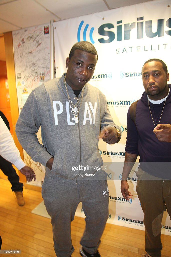 Gucci Mane and Slow, co-founder of Slowbucks invade 'The Whoolywood Shuffle' at SiriusXM Studios on October 8, 2012 in New York City.