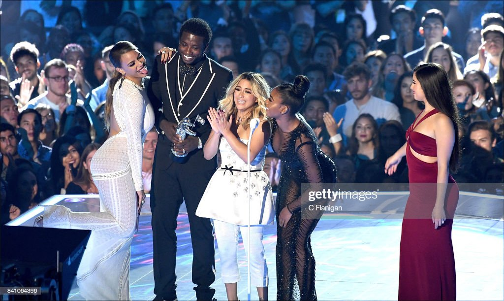 Gucci Mane, Dinah Jane, Ally Brooke, Normani Kordei, and Lauren Jauregui of music group Fifth Harmony accept the Best Pop Video award for 'Down' onstage onstage during the 2017 MTV Video Music Awards at The Forum on August 27, 2017 in Inglewood, California.