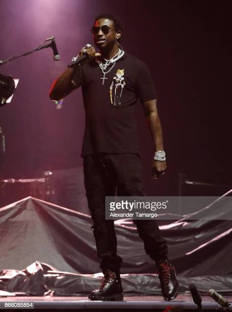 Gucci Mane is seen performing on stage at the AmericanAirlines Arena on October 24 2017 in Miami Florida