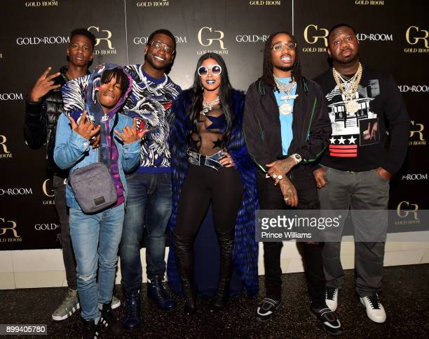 Gucci Mane Keyshia Ka'oir Quavo and Pierre 'Pee' Thomas attend the Gucci Mane El Gato The Human Glacier album release party at Gold Room on December...