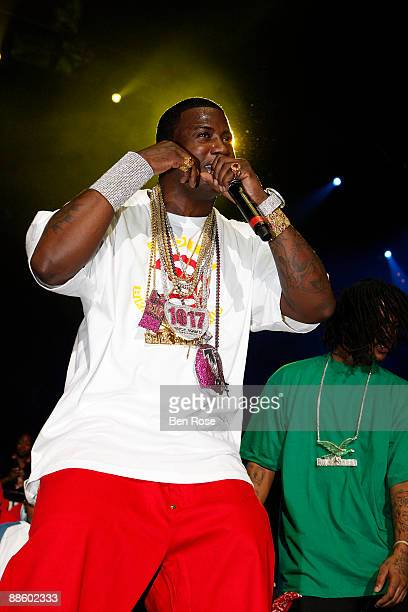 Gucci Mane performs during the Hot 1079 Birthday Bash 14 at Philips Arena on June 20 2009 in Atlanta Georgia