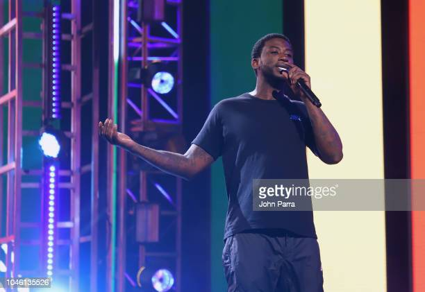 bddb543e4c2 Gucci Mane performs on stage during BET Hip Hop Awards 2018 Rehearsals at  The Fillmore Miami