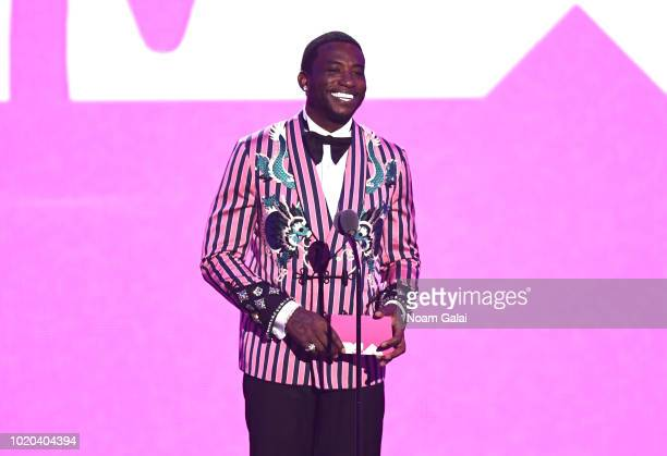 Gucci Mane speaks onstage during the 2018 MTV Video Music Awards at Radio City Music Hall on August 20, 2018 in New York City.