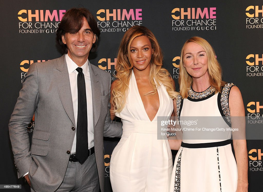 Gucci President and CEO Patrizio di Marco, Beyonce and Gucci Creative Director Frida Giannini attend the CHIME FOR CHANGE One-Year Anniversary Event hosted by Gucci Creative Director Frida Giannini and T Magazine Editor-In-Chief Deborah Needleman at Gucci Fifth Avenue on June 3, 2014 in New York City.