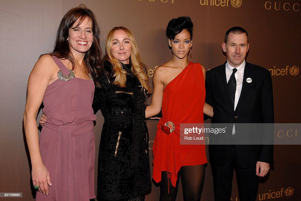 Gucci President Daniella Vitale, Frida Giannini, Rihanna, and Gucci CEO Mark Lee attend the launch of Gucci's Tattoo Heart Collection to benefit UNICEF at Gucci's 5th Avenue store on November 19, 2008 in New York City.