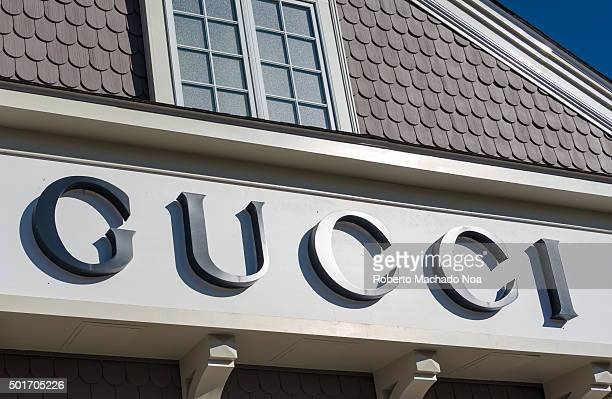 Gucci store in New York City USA with its signage on facade Gucci is an Italian fashion and leather goods brand part of the Gucci Group which is...