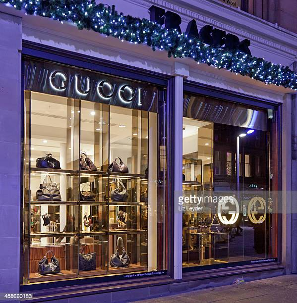 gucci windows, frasers department store, glasgow, scotland - gucci shoe stock pictures, royalty-free photos & images