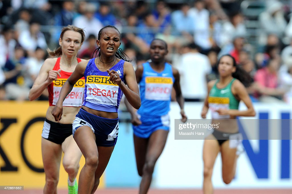 Gudaf Tsegay competes in the 1500m during the Seiko Golden Grand Prix Tokyo 2015 at Todoroki Stadium on May 10, 2015 in Kawasaki, Japan.