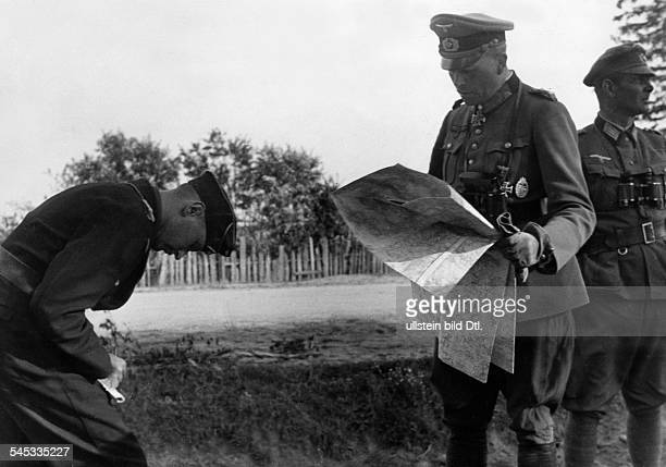 Guderian Heinz Officer General Germany*18881954reading the map during the Russian campaign Photographer Hanns Hubmann Published by 'Signal'...