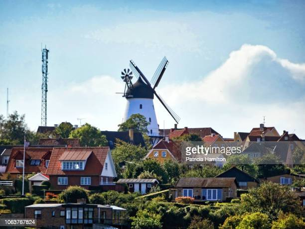 gudhjem windmill, bornholm, denmark - old windmill stock photos and pictures
