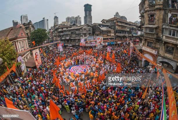 Gudi Padwa rally at Girgaum on March 18, 2018 in Mumbai, India.