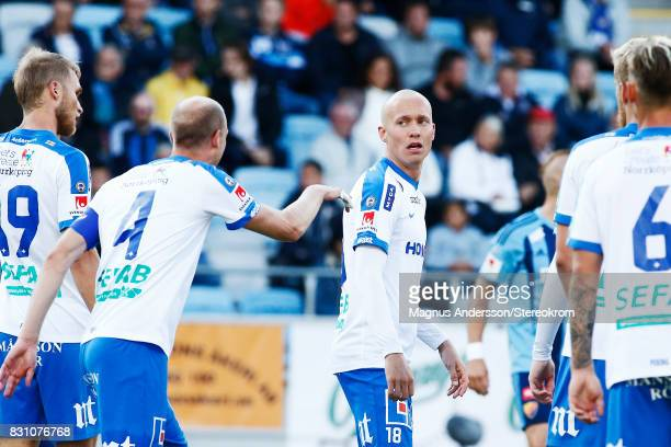 Gudmundur Thórarinsson of IFK Norrkoping during the Allsvenskan match between IFK Norrkoping and Djurgardens IF on August 13, 2017 in Norrkoping,...