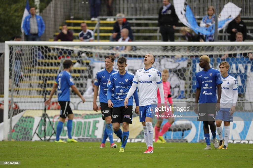 Gudmundur Thórarinsson of IFK Norrkoping yawns at Orjans Vall on September 23, 2017 in Halmstad, Sweden.