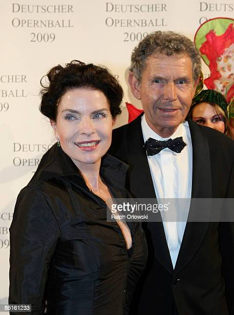 Gudrun Landgrebe and her husband Ulrich von Nathusius arrive for the German Opera Ball 2009 at the Alte Oper on February 28 2009 in Frankfurt Germany