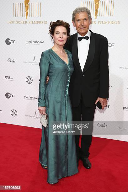 Gudrun Landgrebe and partner attend the Lola German Film Award 2013 at FriedrichstadtPalast on April 26 2013 in Berlin Germany