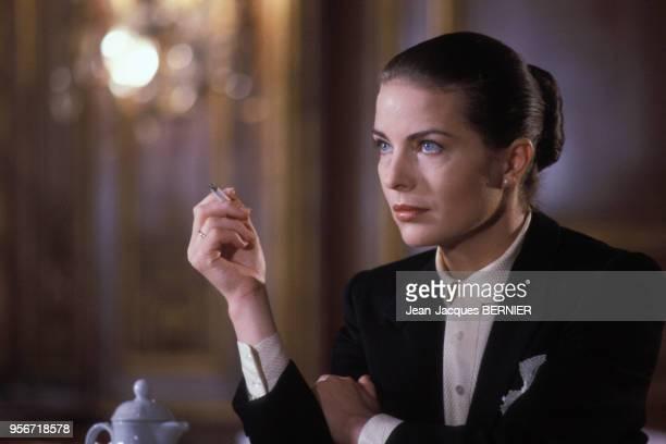 Gudrun Landgrebe sur le tournage du film 'Palace' réalisé par Edouard Molinaro en 1984 France