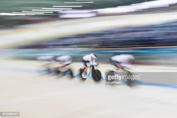 Gudrun Stock Lia Klein Chartlotte Becker Franziska Brausse Women`s Team Pursuit Wyscig na dochodzenie during Track Cycling World Cup Pruszkow 2017 in...