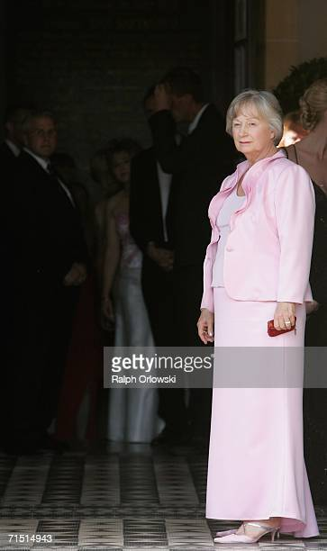 Gudrun Wagner wife of Wolfgang Wagner the General Director of the Richard Wagner Festival arrives for the opening performance of Richard Wagner's...