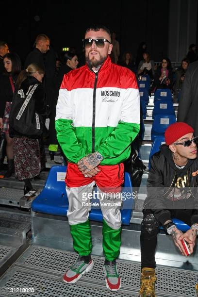 Gue Pequeno attends the Moschino show at Milan Fashion Week Autumn/Winter 2019/20 on February 21 2019 in Milan Italy