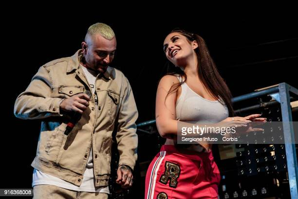 Gue Pequeno born Cosimo Fini and Elettra Miura Lamborghini perform on stage at Fabrique on February 9 2018 in Milan Italy