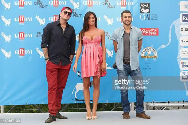 Gue Pequeno Lorella Boccia and Ryan Guzman attend Giffoni Film Festival photocall on July 23 2014 in Giffoni Valle Piana Italy