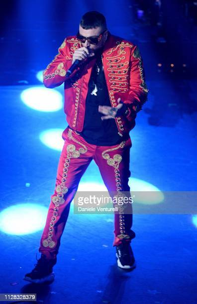 Gue Pequeno on stage during the fourth night of the 69th Sanremo Music Festival at Teatro Ariston on February 08 2019 in Sanremo Italy
